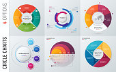 Collection of vector circle chart infographic templates for presentations, advertising, layouts, annual reports. 4 options, steps, parts.