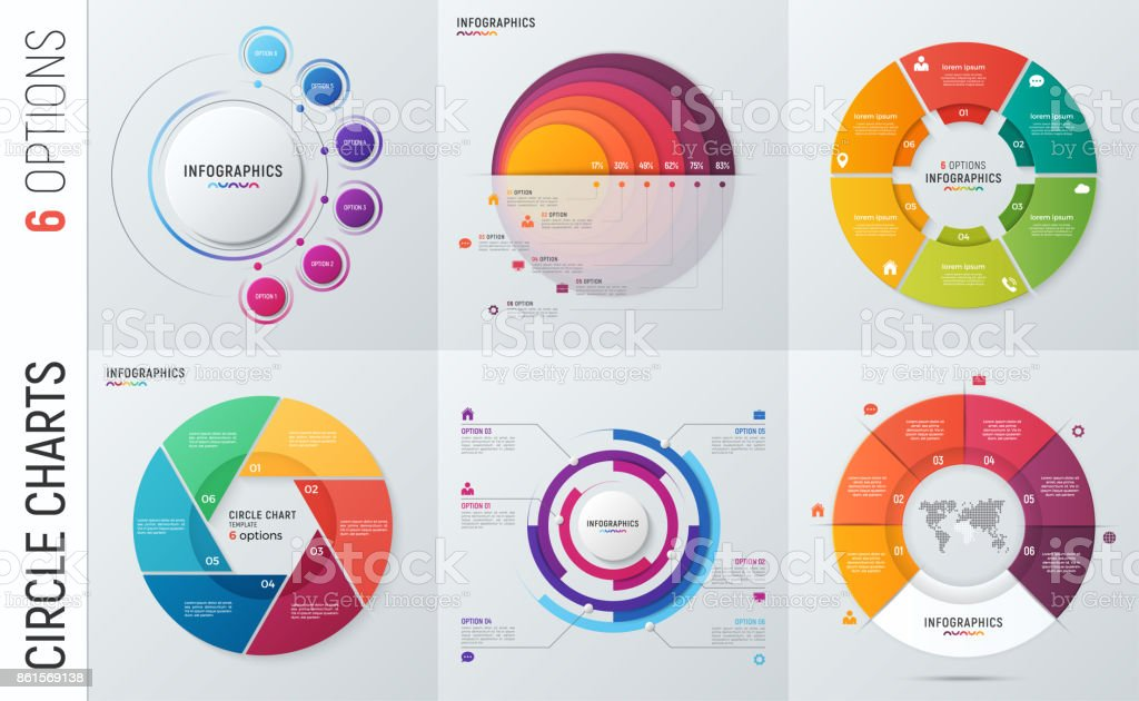 Collection of vector circle chart infographic templates for presentations, advertising, layouts, annual reports. 6 options, steps, parts. - ilustração de arte vetorial