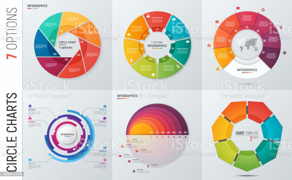 Collection of vector circle chart infographic templates for presentations, advertising, layouts, annual reports. 7 options, steps, parts. - ilustração de arte vetorial
