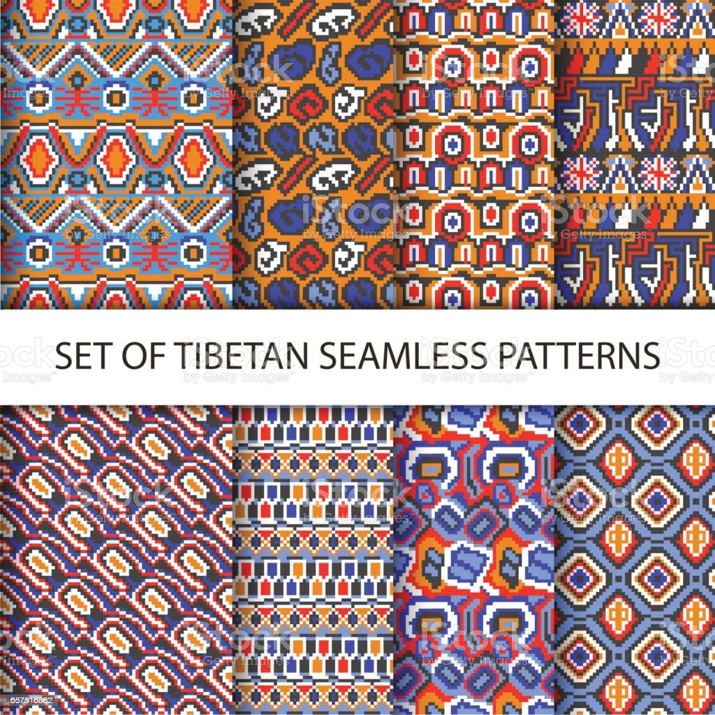 Collection of vector colorful pixel seamless patterns with Tibet ethnic ornament vector art illustration