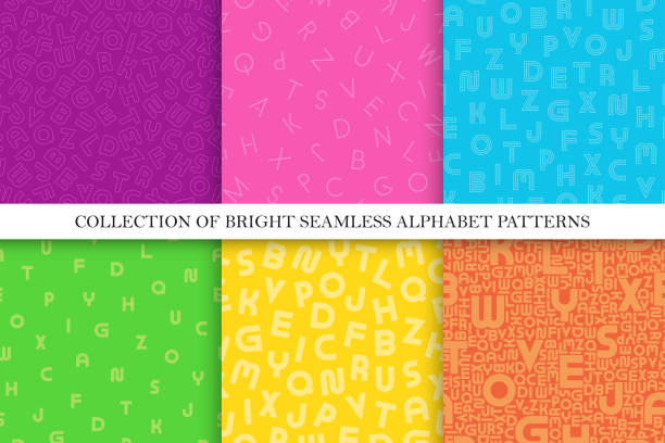 Collection of vector colorful seamless alphabet patterns. Stylish bright backgrounds with latin letters. Fashion vibrant textures. Simple trendy backdrops Collection of vector colorful seamless alphabet patterns. Stylish bright backgrounds with latin letters. Fashion vibrant textures. Simple trendy backdrops. alphabet backgrounds stock illustrations