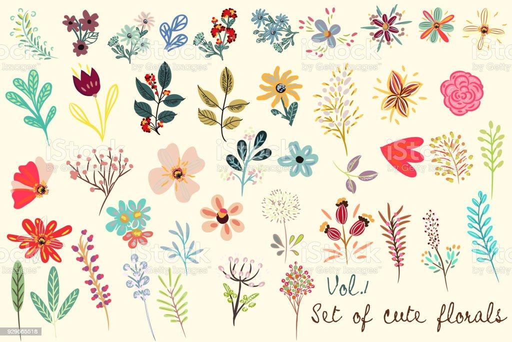 シンプルで素朴なスタイルのベクトルのかわいい花柄のコレクション