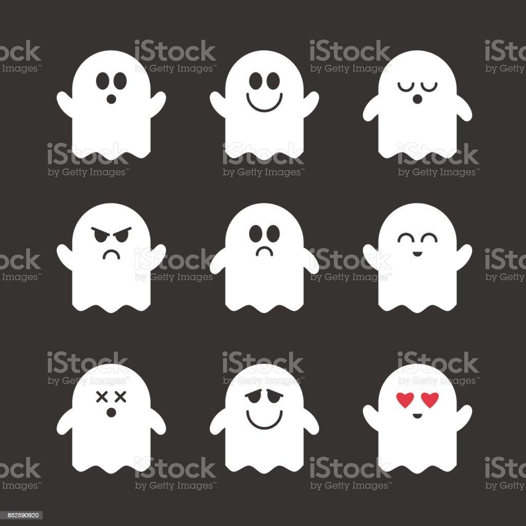 Collection of vector cute ghosts. векторная иллюстрация