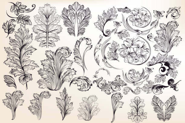 Collection of vector decorative floral elements in vintage style vector art illustration