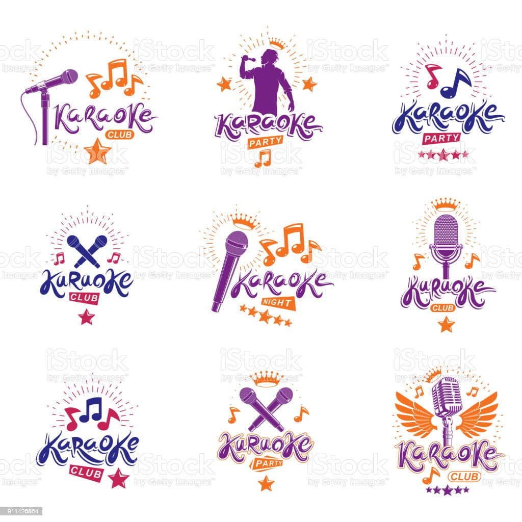 Collection of vector design elements which can be best used for karaoke theme emblems and posters composition. Leisure and relaxation lifestyle presentation, carnival concept. vector art illustration