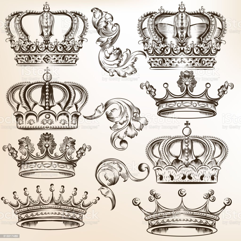 Collection of vector detailed crowns vector art illustration
