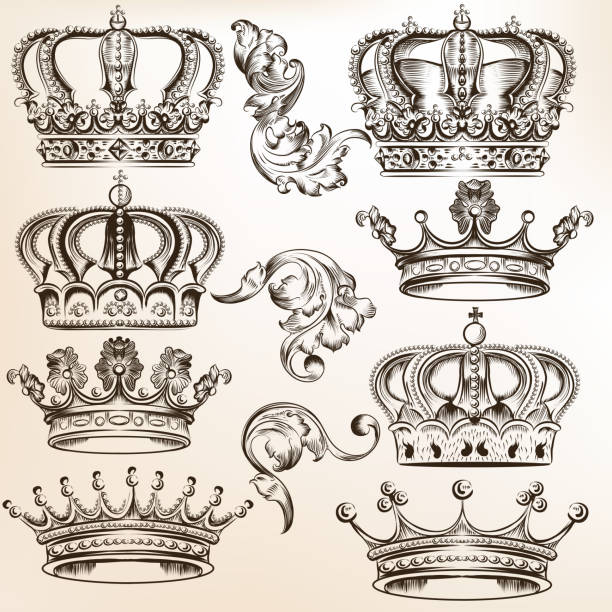 Colección de vector detallado de corona - ilustración de arte vectorial