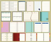 collection of vector diarys and notebooks