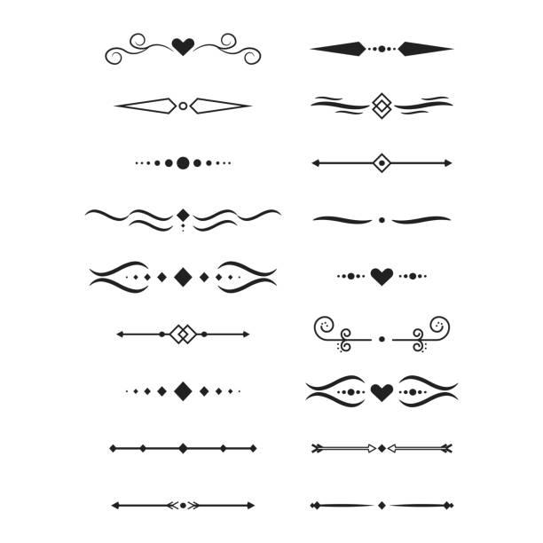 illustrazioni stock, clip art, cartoni animati e icone di tendenza di collection of vector dividers - separazione