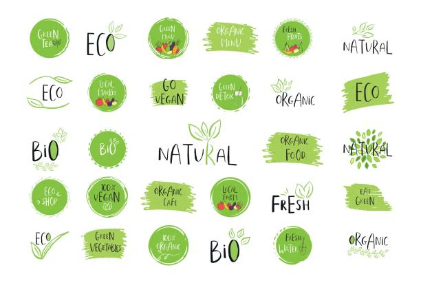 collection of vector eco, bio green  or sign. organic design - organic stock illustrations, clip art, cartoons, & icons