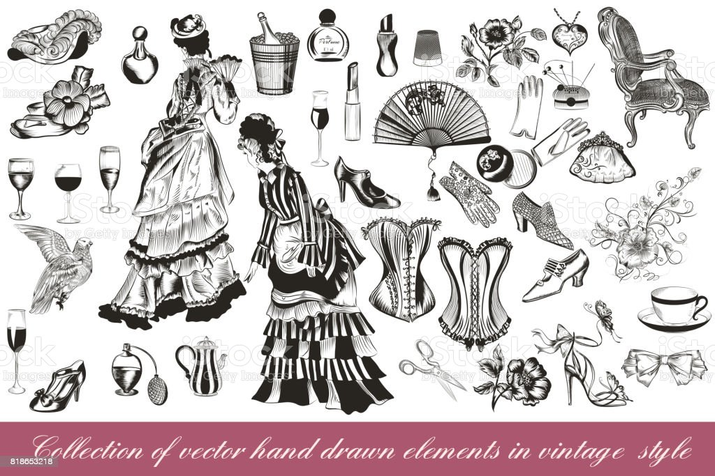 Collection of vector fashion lady set accessories clothiers and cosmetic vector art illustration