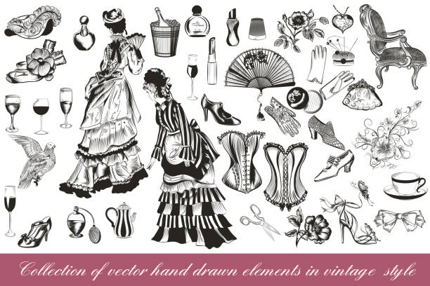 collection of vector fashion lady set accessories clothiers and cosmetic - shoes fashion stock illustrations, clip art, cartoons, & icons