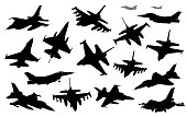Military aircraft collection. Vector silhouettes