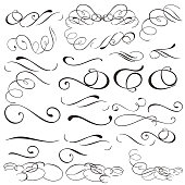 Collection of vector filigree flourishes for design