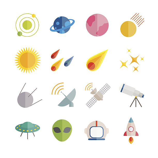 collection of vector flat space icons. - astronomy telescope stock illustrations