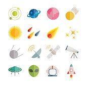 Collection of vector flat space icons.
