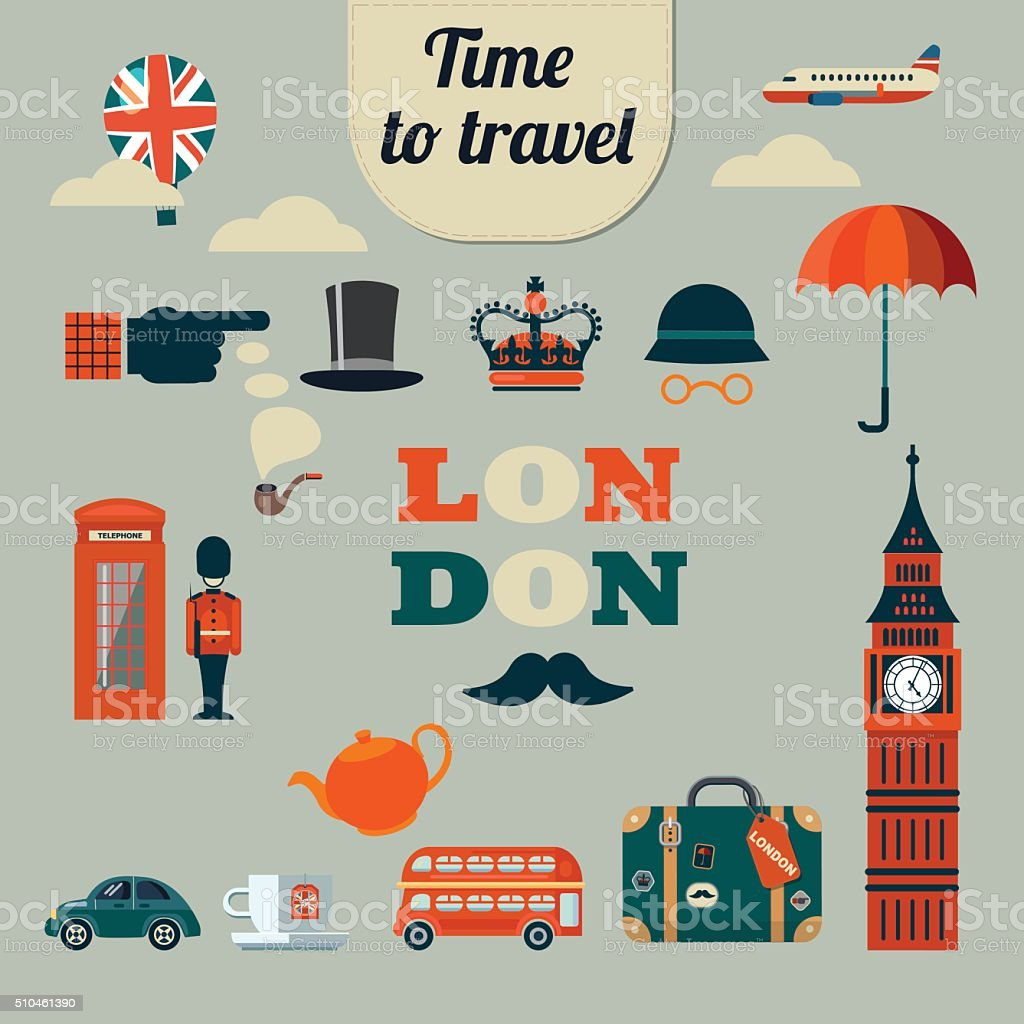 collection of vector flat style London icons vector art illustration