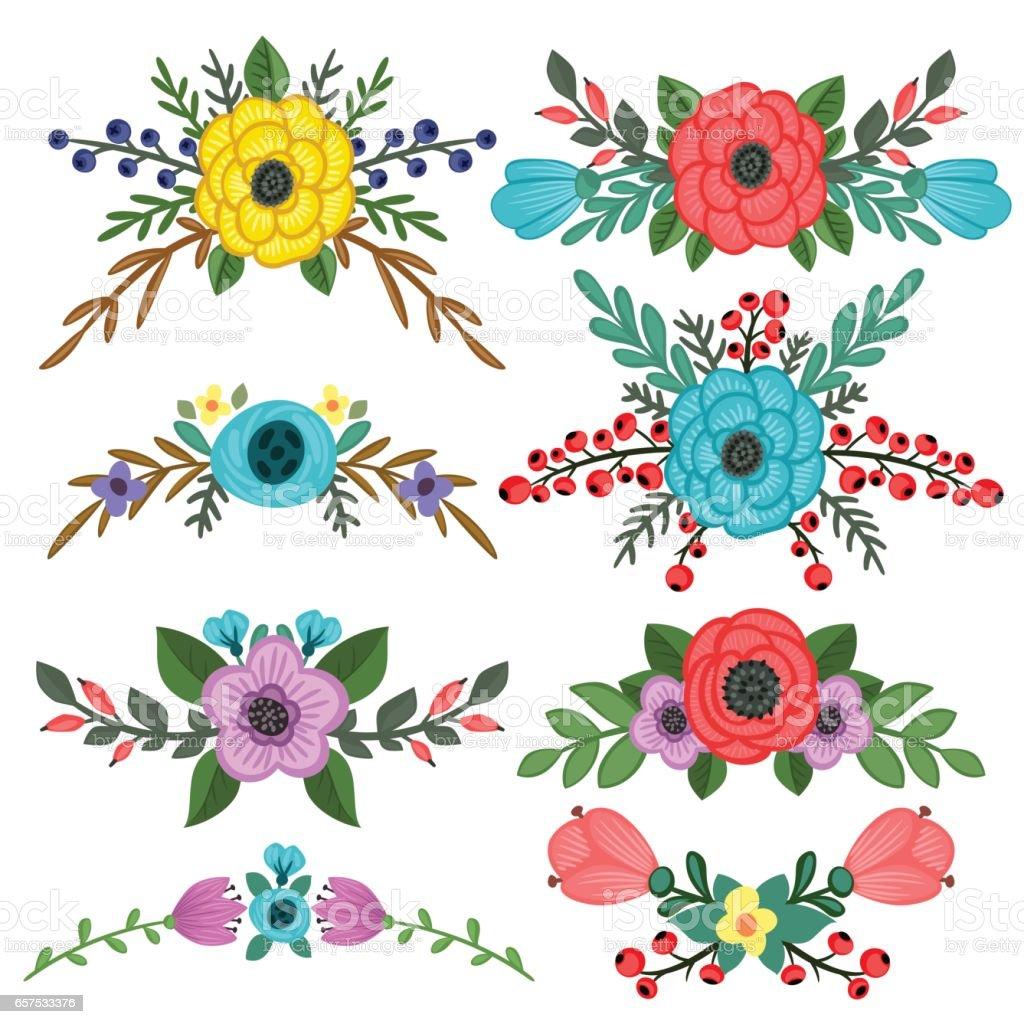 Ilustracin de Coleccin De Adornos De Bouquet De Flores Vector y