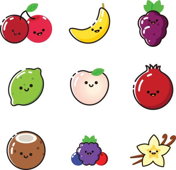 illustrazioni stock, clip art, cartoni animati e icone di tendenza di collection of vector fruits stickers. - pesche bambino