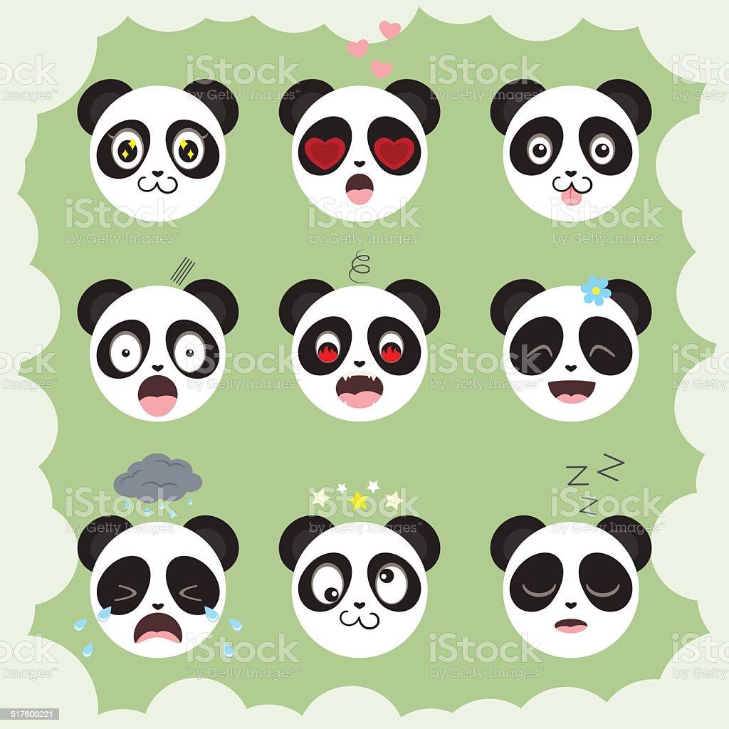 ベクトルコレクションのおもしろいパンダ smilies のイラスト素材