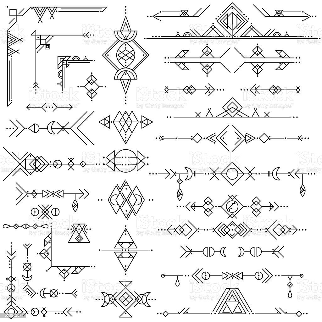 collection of vector geometric line art design elements