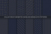 Collection of vector geometric seamless minimalistic patterns - simple goldish textures. Blue stylish endless backgrounds.