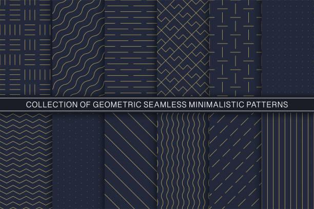 stockillustraties, clipart, cartoons en iconen met verzameling van vector geometrische naadloze minimalistische patronen-eenvoudige goudkleurige texturen. blauwe eindeloze achtergronden - pattern