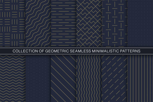 Collection of vector geometric seamless minimalistic patterns - simple goldish textures. Blue endless backgrounds Collection of vector geometric seamless minimalistic patterns - simple goldish textures. Blue stylish endless backgrounds. simplicity stock illustrations