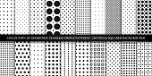 Collection of vector geometric seamless simple patterns - dotted and squared textures. Decorative black and white backgrounds - trendy minimalistic design.