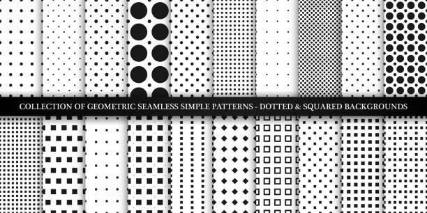 stockillustraties, clipart, cartoons en iconen met verzameling van vector geometrische naadloze eenvoudige patronen-gestippelde en vierkante texturen. decoratieve zwarte en witte achtergronden-trendy minimalistisch design - pattern