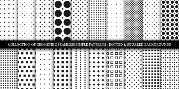 illustrazioni stock, clip art, cartoni animati e icone di tendenza di collection of vector geometric seamless simple patterns - dotted and squared textures. decorative black and white backgrounds - trendy minimalistic design - chiazzato
