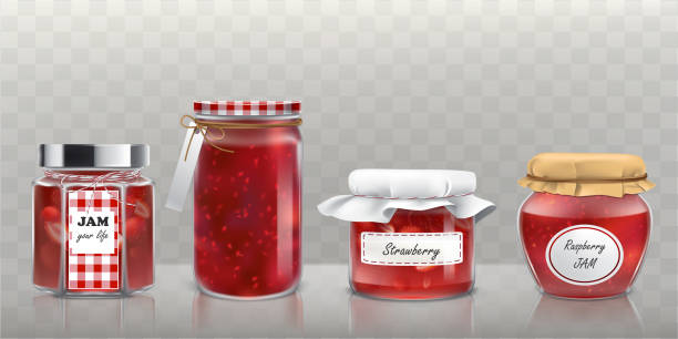 Collection of vector glass jars with jam in a realistic style Collection of vector glass jars with raspberry and strawberry jam in a realistic style jello stock illustrations