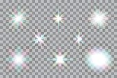 Collection of color vector glowing light effects isolated on transparent background.