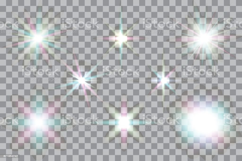 Collection of vector glowing light effects isolated on transparent background. vector art illustration