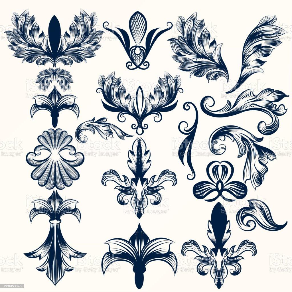 Collection of vector hand drawn fleur de lis and swirls stock vector art more images of - Dessin fleur de lys ...