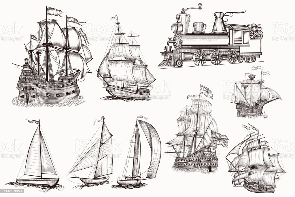 collection of vector hand drawn high detailed ships and train vector art illustration