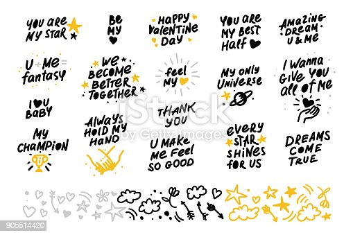 Collection of vector hand made lettering love quotes and decor elements isolated on white background. Good for Valentine day congratulation cards, banners, package etc.