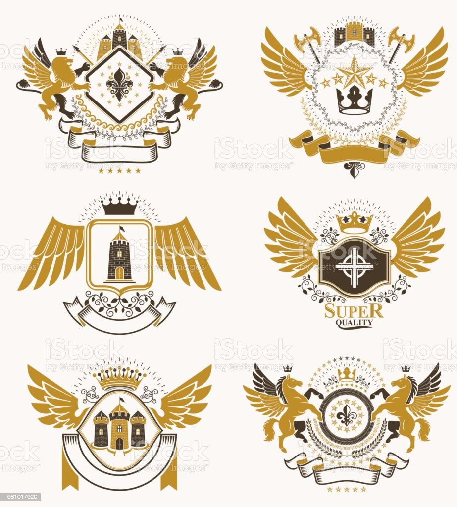 Collection of vector heraldic decorative coat of arms isolated on white and created using vintage design elements, monarch crowns, pentagonal stars, armory, wild animals. royalty-free collection of vector heraldic decorative coat of arms isolated on white and created using vintage design elements monarch crowns pentagonal stars armory wild animals stock vector art & more images of animal