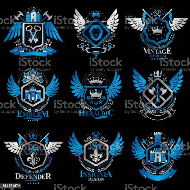 Collection of vector heraldic decorative coat of arms isolated on vector id681171874?b=1&k=6&m=681171874&s=612x612&h=9s6 dpnna6f3fvu7 hk8bpzgfdt1htjbt19vkm5gnh4=