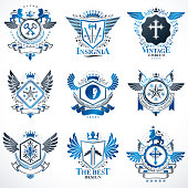 Collection of vector heraldic decorative coat of arms isolated
