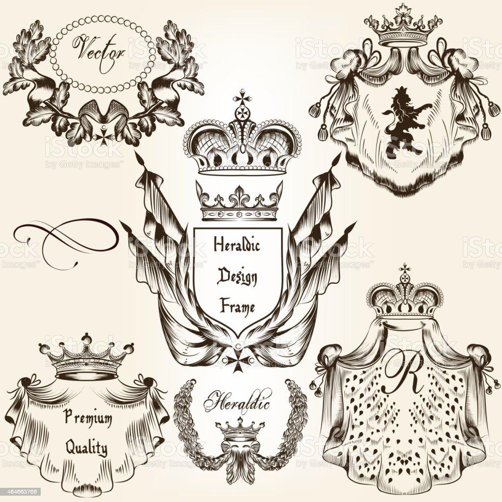Sammlung Von Vektor Heraldic Frames Shields Und Wappen Stock Vektor ...