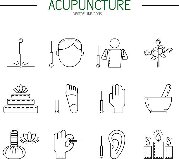 bildbanksillustrationer, clip art samt tecknat material och ikoner med collection of vector icons of elements for acupuncture and massage, tcm. - acupuncture