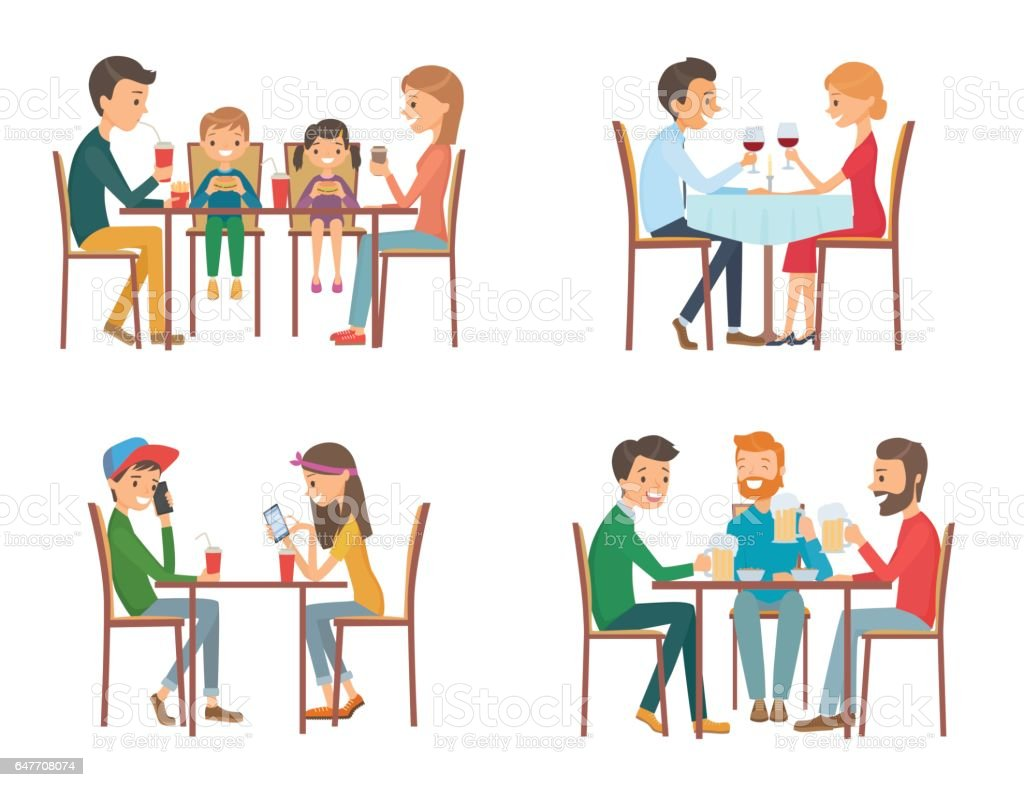 Collection of vector illustration on the theme of people in cafe vector art illustration