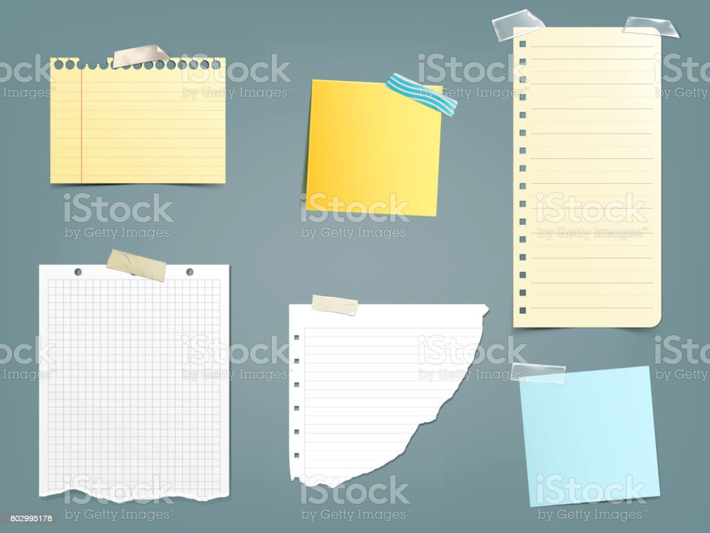 Collection of vector illustrations different paper notes vector art illustration