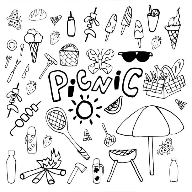 Collection of vector illustrations on the theme of the summer holidays. Summer picnic doodle set. Various meals, drinks, objects, sports activities. Isolated over white background. Collection of vector illustrations on the theme of the summer holidays. Summer picnic doodle set. Various meals, drinks, objects, sports activities. Isolated over white background. drawing of a glass liquor flask stock illustrations