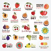 Collection of vector illustrations with fruits and editable text