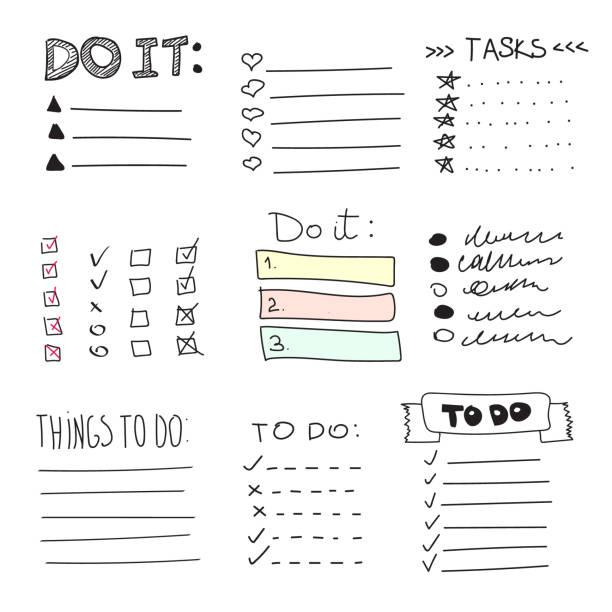 illustrazioni stock, clip art, cartoni animati e icone di tendenza di collection of vector isolated outline hand drawn check to do list, bullet, check - to do list
