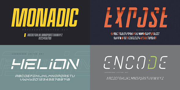 Collection of vector italic sans serif fonts, uppercase letter sets, alphabets.
