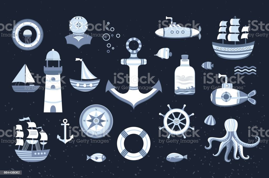 Collection of vector marine elements. vector art illustration