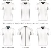 Collection of vector men sport clothes for your design. Fully editable handmade mesh.
